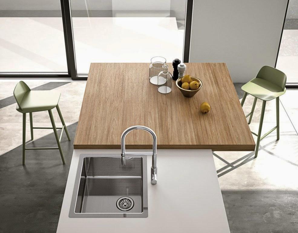 30 modelos de mesas y barras para cocinas de todos los for Barra auxiliar para cocina