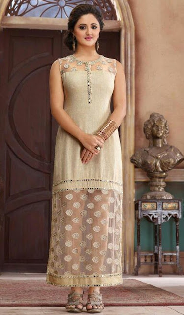 Beige Chanderi Embroidered Desinger Kurti for Wedding Wear
