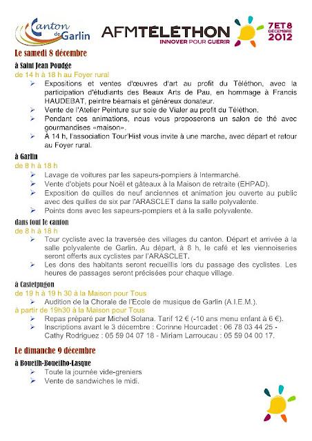 Téléthon 2012 sur le canton de Garlin