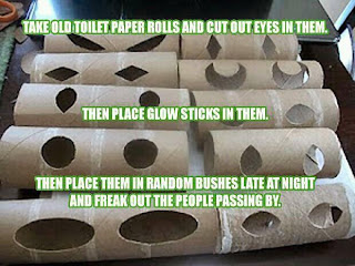 what can you do with a simple toilet paper cardboard inner roll cut eye holes out and slip a glow stick inside place in bushes and trees - Cheap Homemade Halloween Decorations