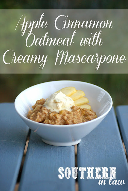 Gluten Free Apple Cinnamon Oatmeal topped with Creamy Mascarpone - Healthy Breakfast Recipes