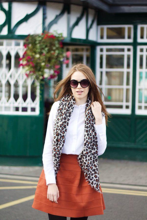 White shirt & leopard print scarf