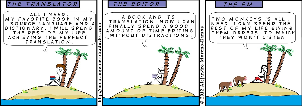 cartoon project manager in a desert island