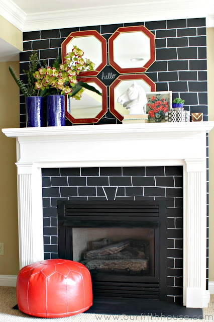chalkboard paint fireplace makeover