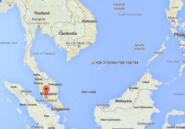 Map of Oil Rig Worker location where Malaysia Airline Flight MH370 last seen?