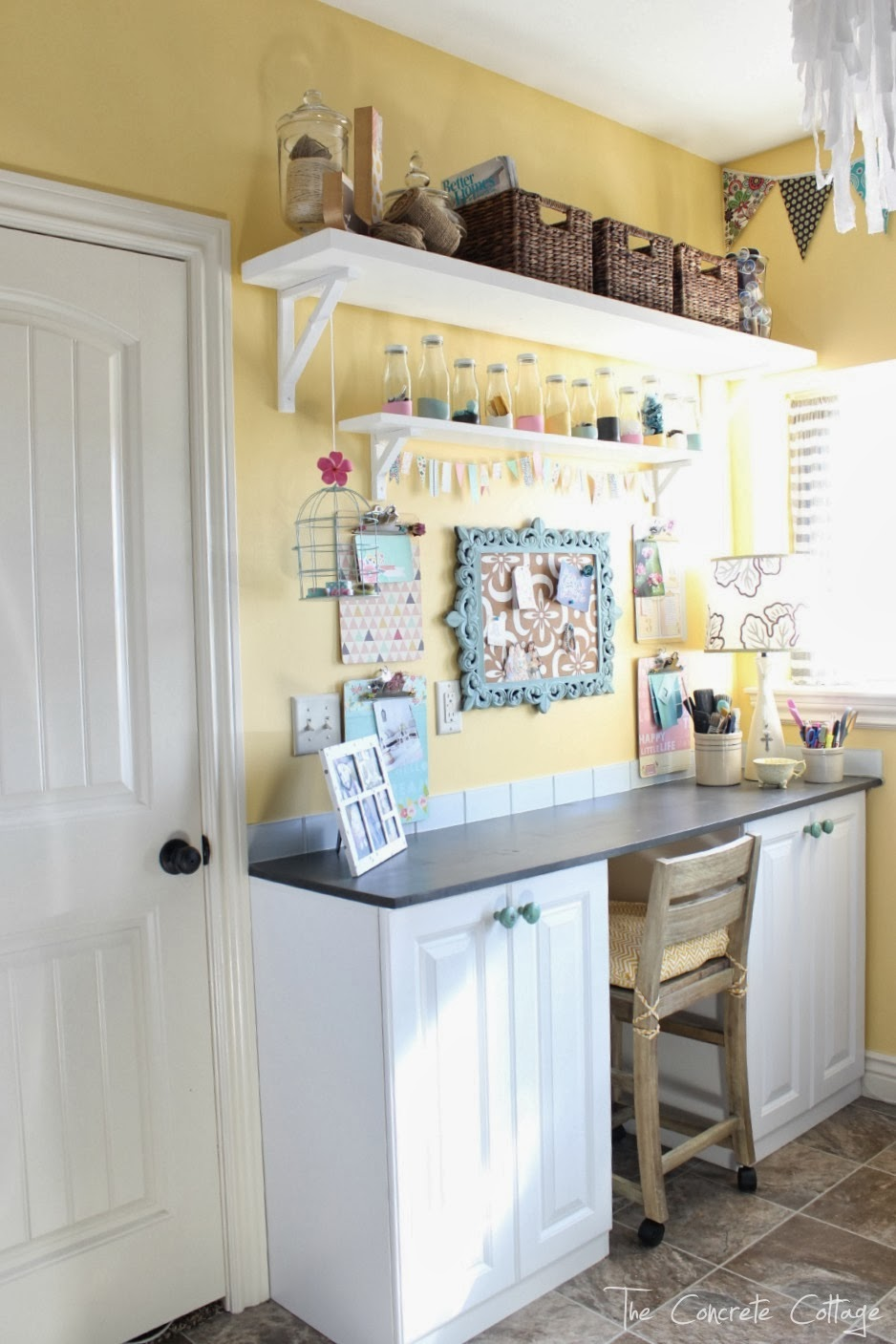 The concrete cottage craft room reveal - Storage ideas for small office spaces paint ...