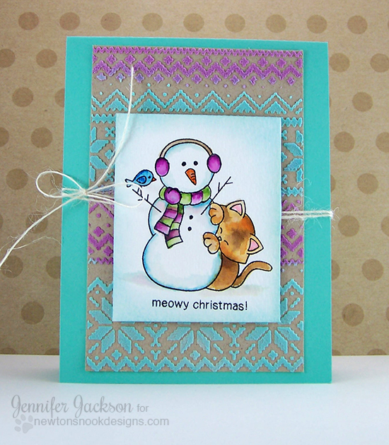 Meowy Christmas Card by Jennifer Jackson | Newton's Nook Designs | Newton's Curious Christmas Stamp Set