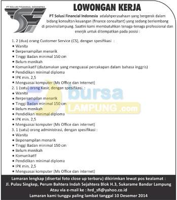 Lowongan Kerja Lampung, Sabtu 6 Desember 2014 di PT. Solusi Financial Indonesia
