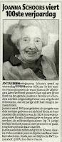 Joanna Schoors (1902-2003), gevierd als honderdjarige.