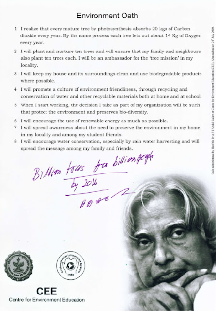 President Kalam;s billion tree planting pledge.