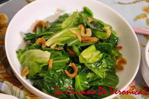 La Cuisine De Veronica 蝦乾炒Spring Greens