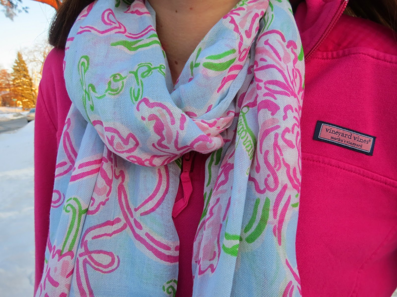 Lilly Pulitzer Murfee Scarf (similar Style Here), Vineyard Vines Shep Shirt  (similar Style Here), Zella Leggings (nordstrom), Ll Bean Boots (currently  On