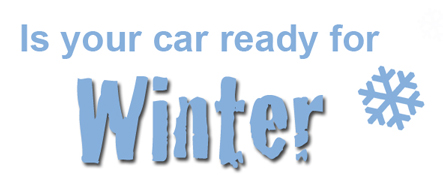 is your car ready for winter text with snowflake