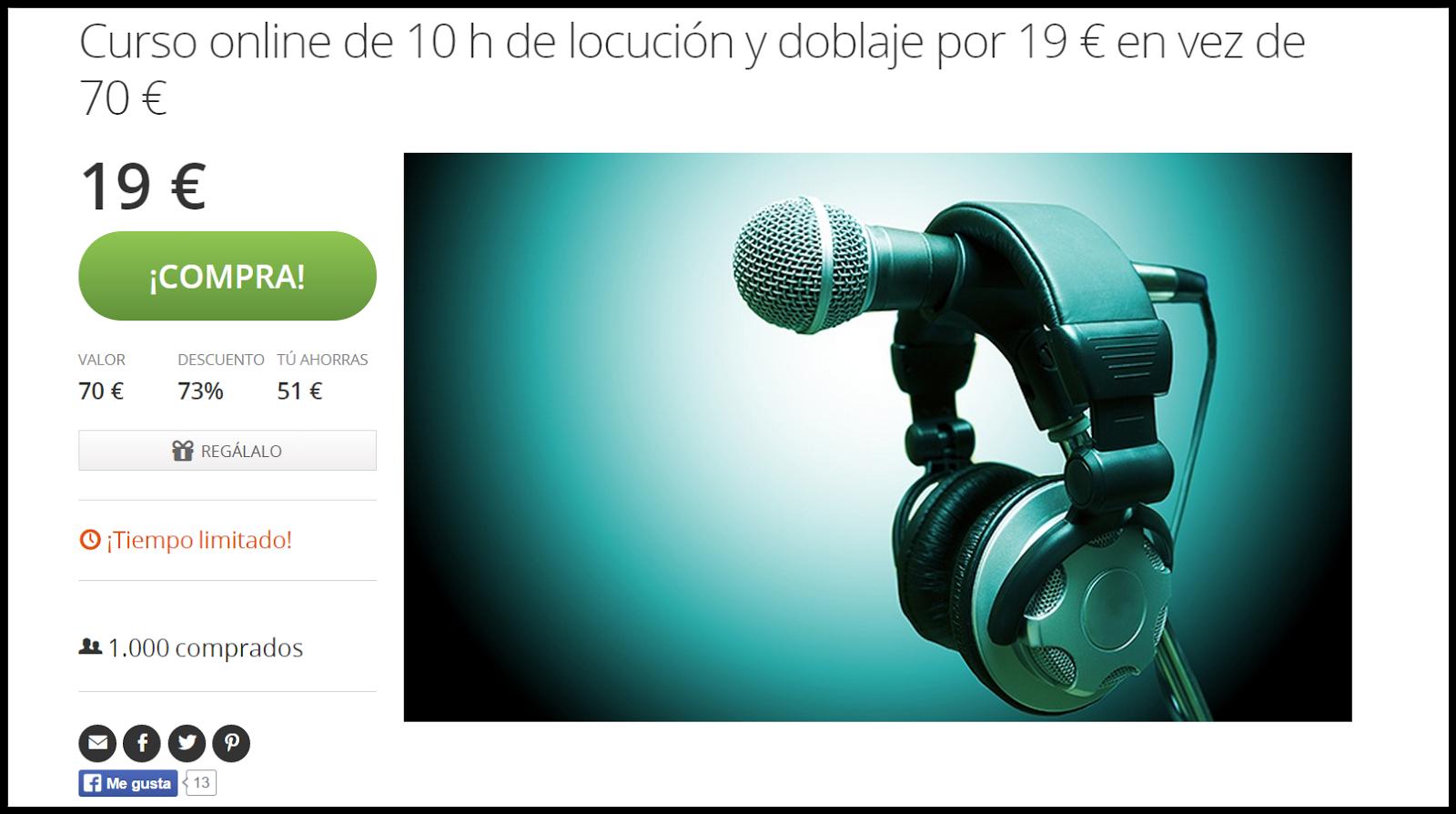 Curso online de locución y doblaje 19 euros