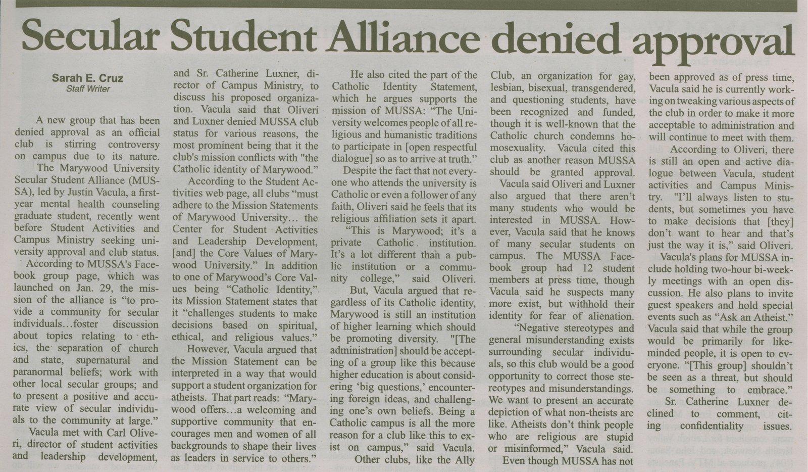 Marywood Secular Student Alliance denied, school newspaper ...