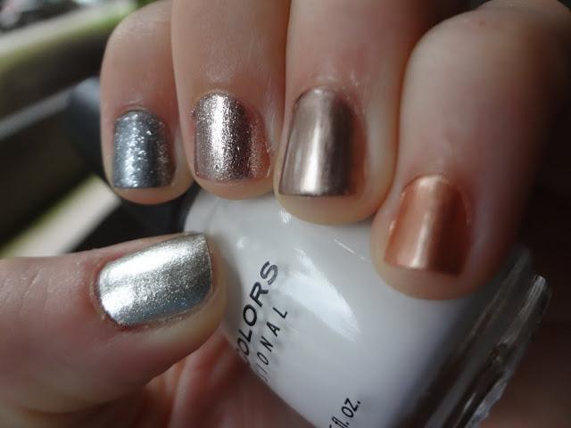 Mani with mixed metals, nail polishes