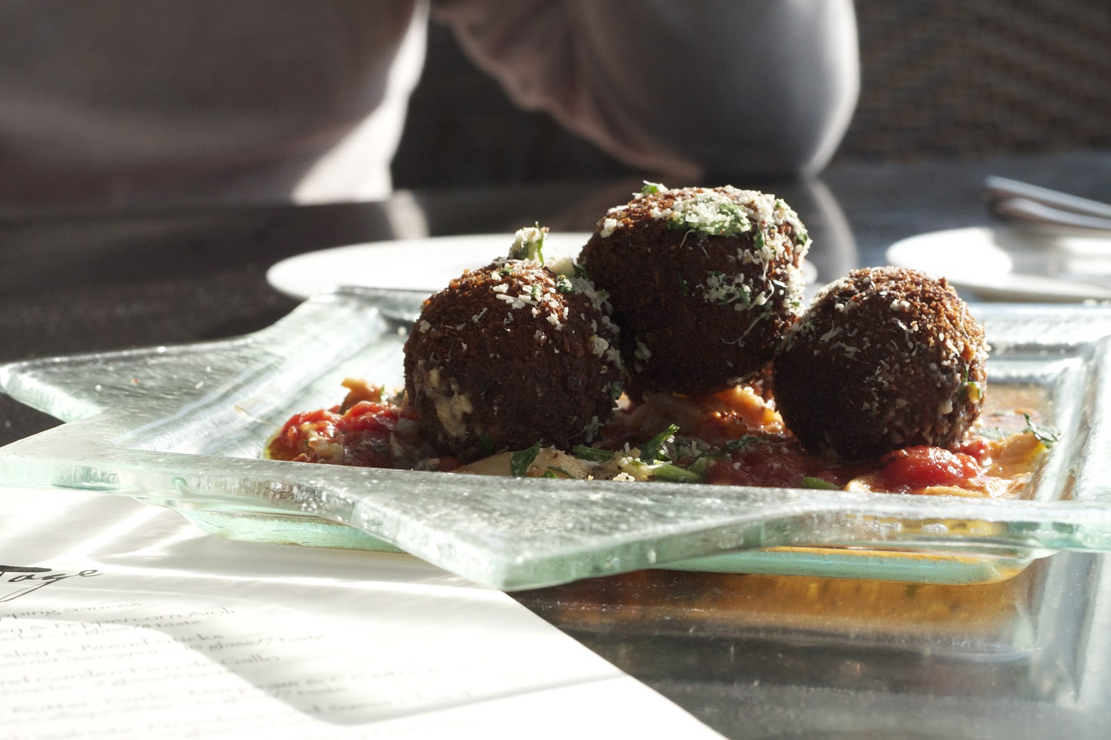 Red Wine & Mascarpone Risotto Fritters with Crab & Anchovy Marinara: