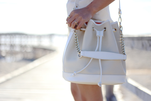 Niclaire Hello Sailor leather bucket bag in cream, ivory, white.