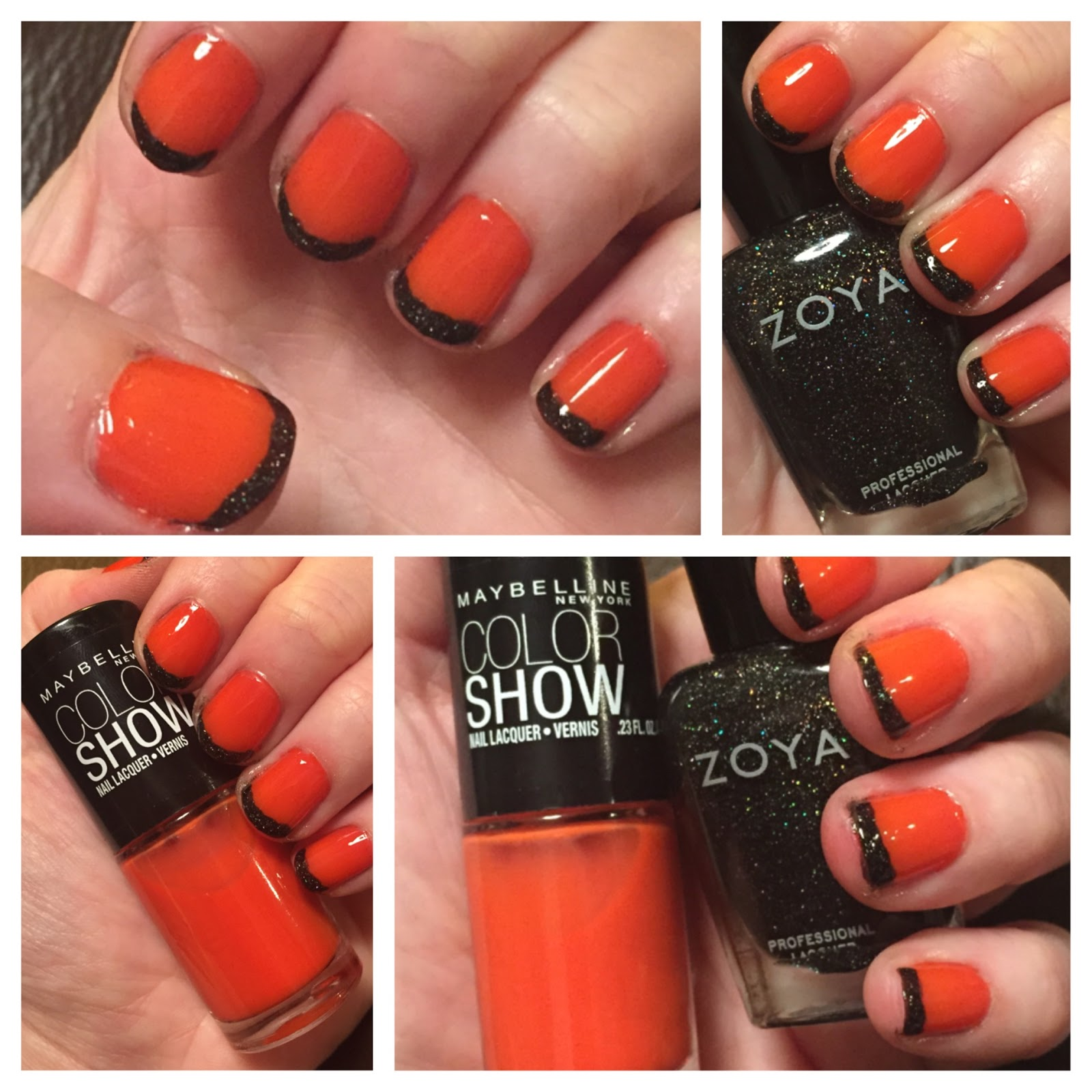 The Beauty of Life: Happy Halloween! Orange & Black French Manicure ...