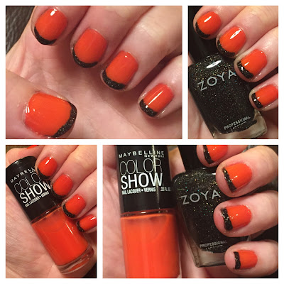 Maybelline Color Show Nail Lacquer Orange Fix, Zoya Storm nail polish, Halloween nail art, French manicure, nails, nail polish, nail lacquer, nail varnish, manicure