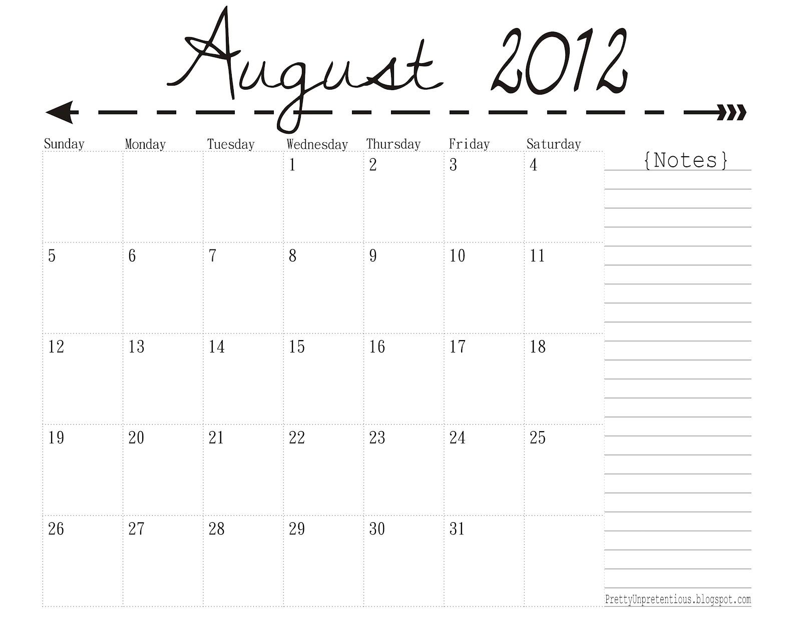 August 2014 Calendar Printable