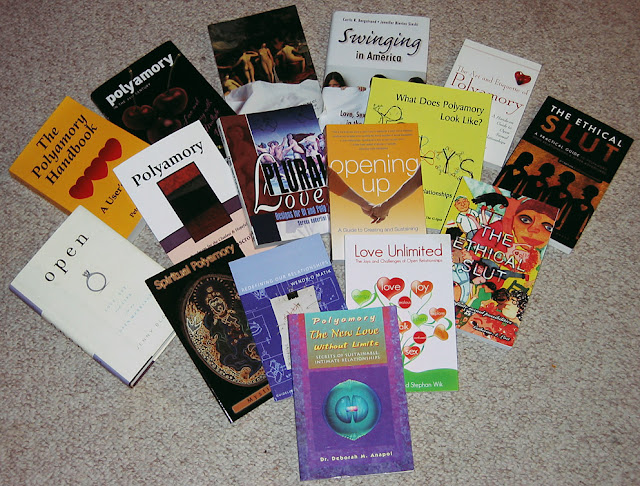 The covers of 16 polyamory books