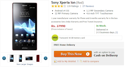 Sony Xperia Ion Price Drops via Flipkart