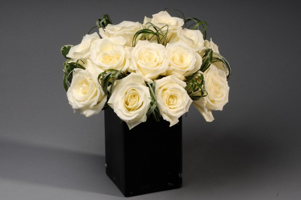 The top 25 summer arrangements at scotts flowers nyc scotts whitehall street white roses in a black ceramic container mightylinksfo Image collections