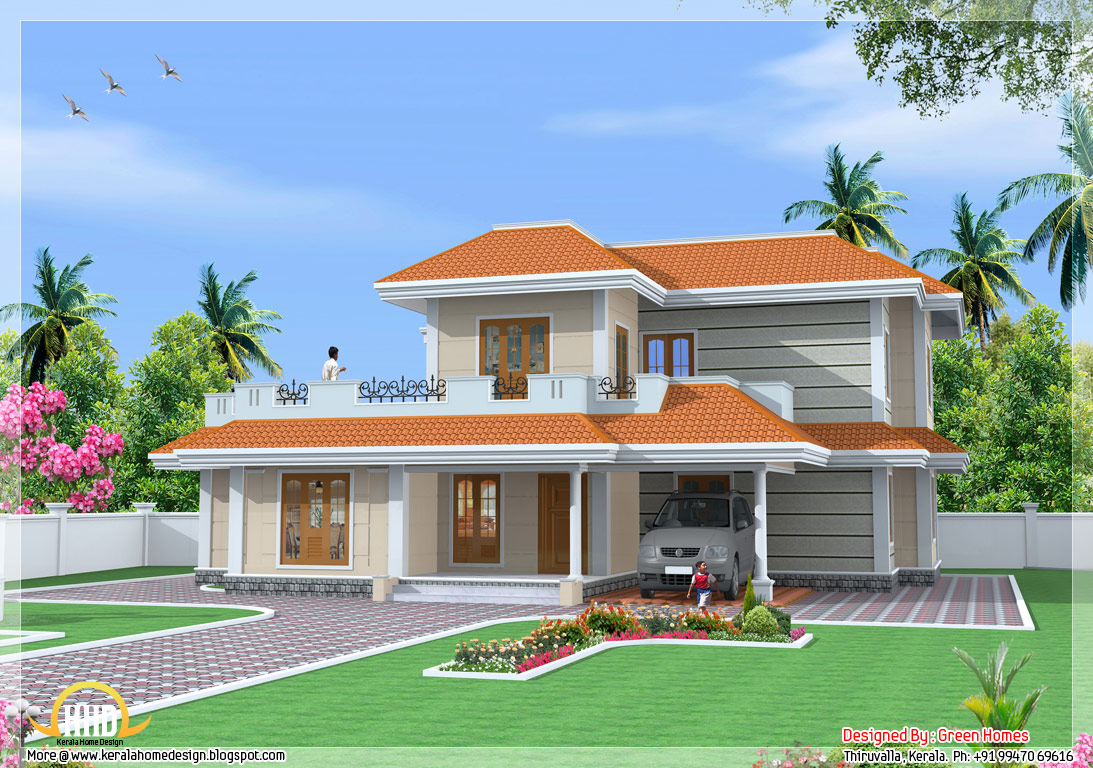 4 bedroom double storey india house 2600 sq ft home for Indian house models for construction