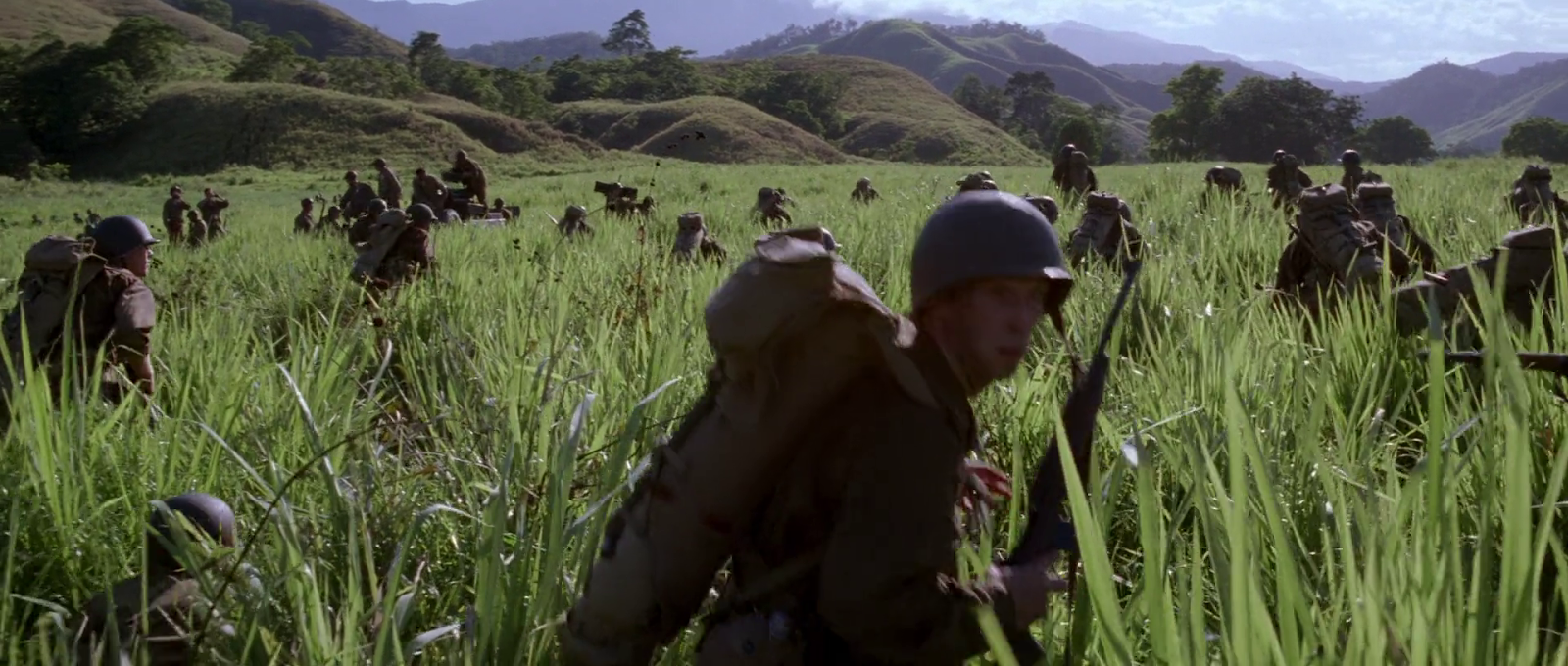 and so it begins top things i love about the thin red line saving private ryan uses this walking through the field scene as a source of humor ck prefers not to see the humor in war and i think it is far more