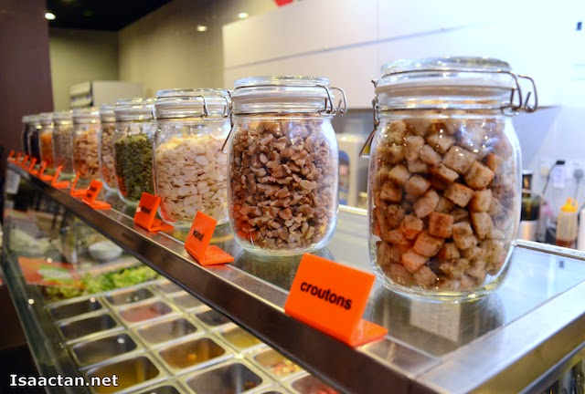 Some of the toppings you can choose, mix and match to your salads.