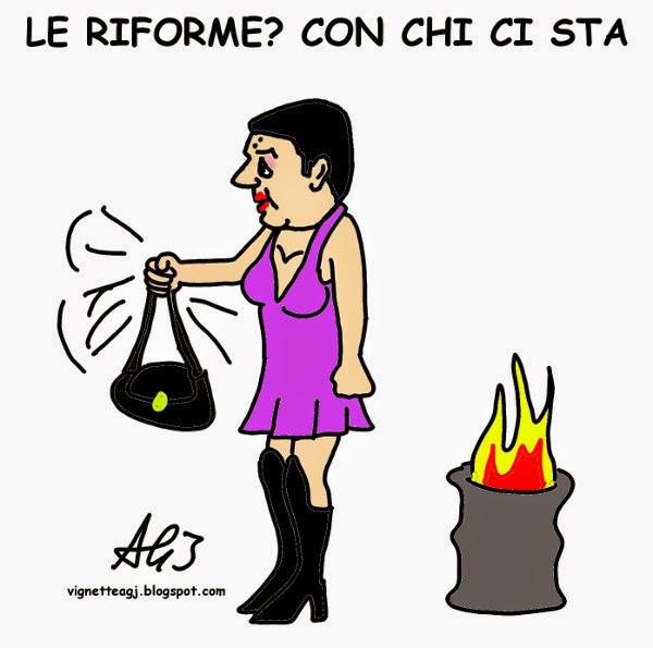 Renzi, riforme, maggioranza, satira, vignetta