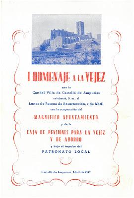 AMCE. Promgrama del I Homenatge a la vellesa de Castelló d'Empúries. 1947.