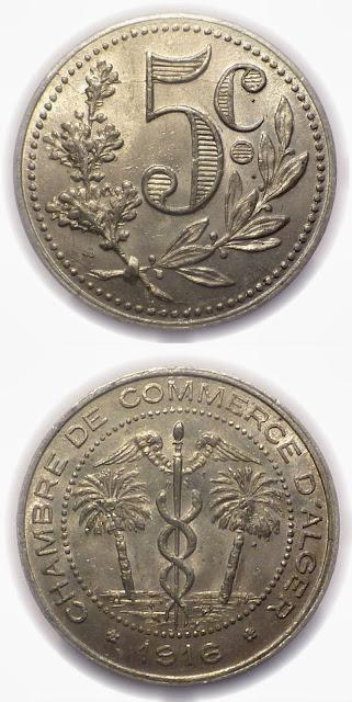 5 cent 1916 chambre de commerce algerie monnai de for Chambre de commerce algerienne