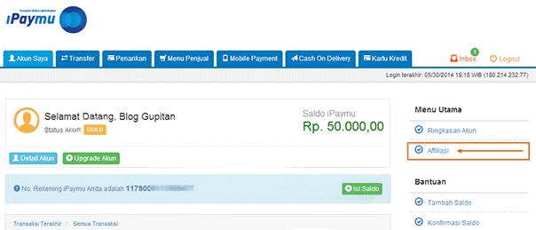 Cara Mendapatkan Uang dari iPaymu 2