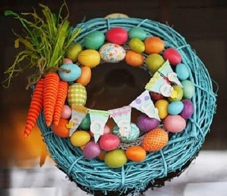 Coronas de Pascua con Ramas y Huevos Reciclados