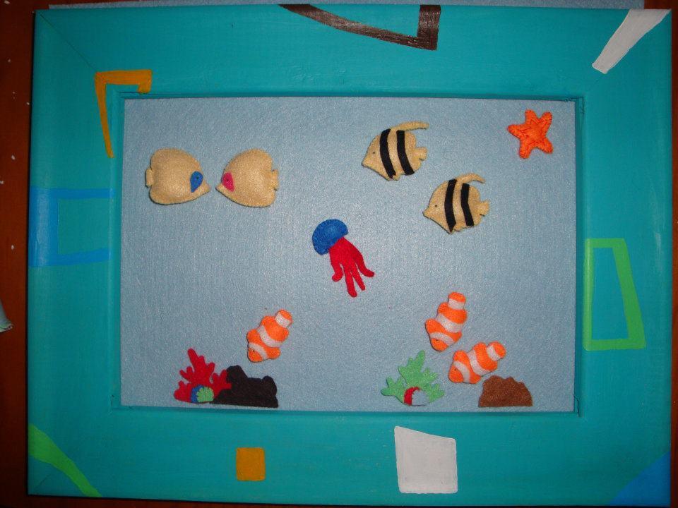 Manualidadessusa cuadro de peces en fieltro for Cuadros con peces