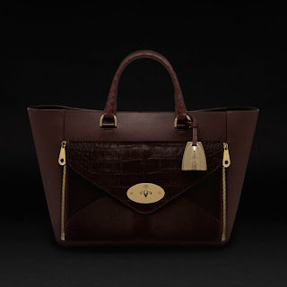 photo of Mulberry willow tote in oxblood with haircalf and ostrich detailing