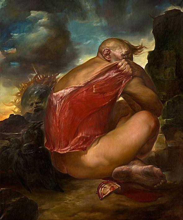 Viktor Safonkin pinturas surreais sombrias medievais mitológicas religião subconsciente Apostando com a dor