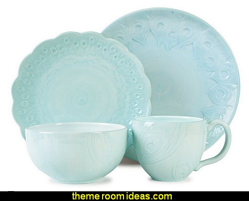 Peacock 4-Piece Dinnerware Set, Turquoise