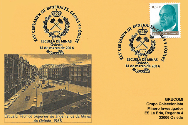Matasellos del 25 aniversario del Certamen de Minerales, Gemas y Fósiles de la Escuela de Minas, Oviedo