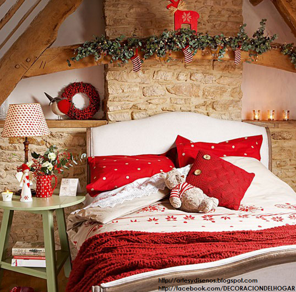 Decorar Dormitorios para Navidad Bedroom Christmas by artesydisenos.blogspot.com