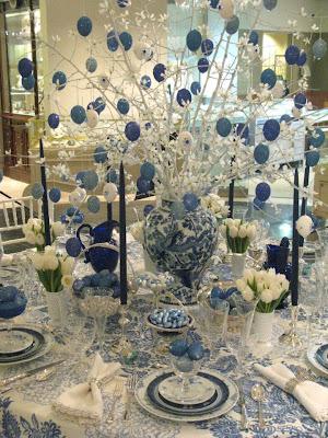 Decoración de mesa en azul