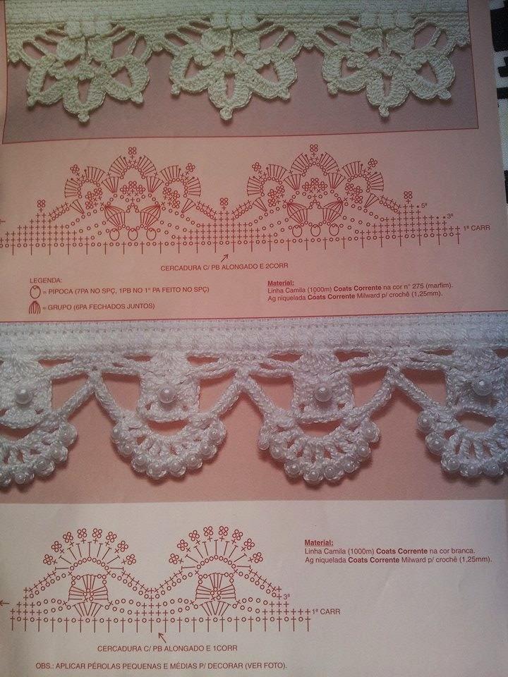 diagrama de puntilla tejida al crochet con agregado de perlas