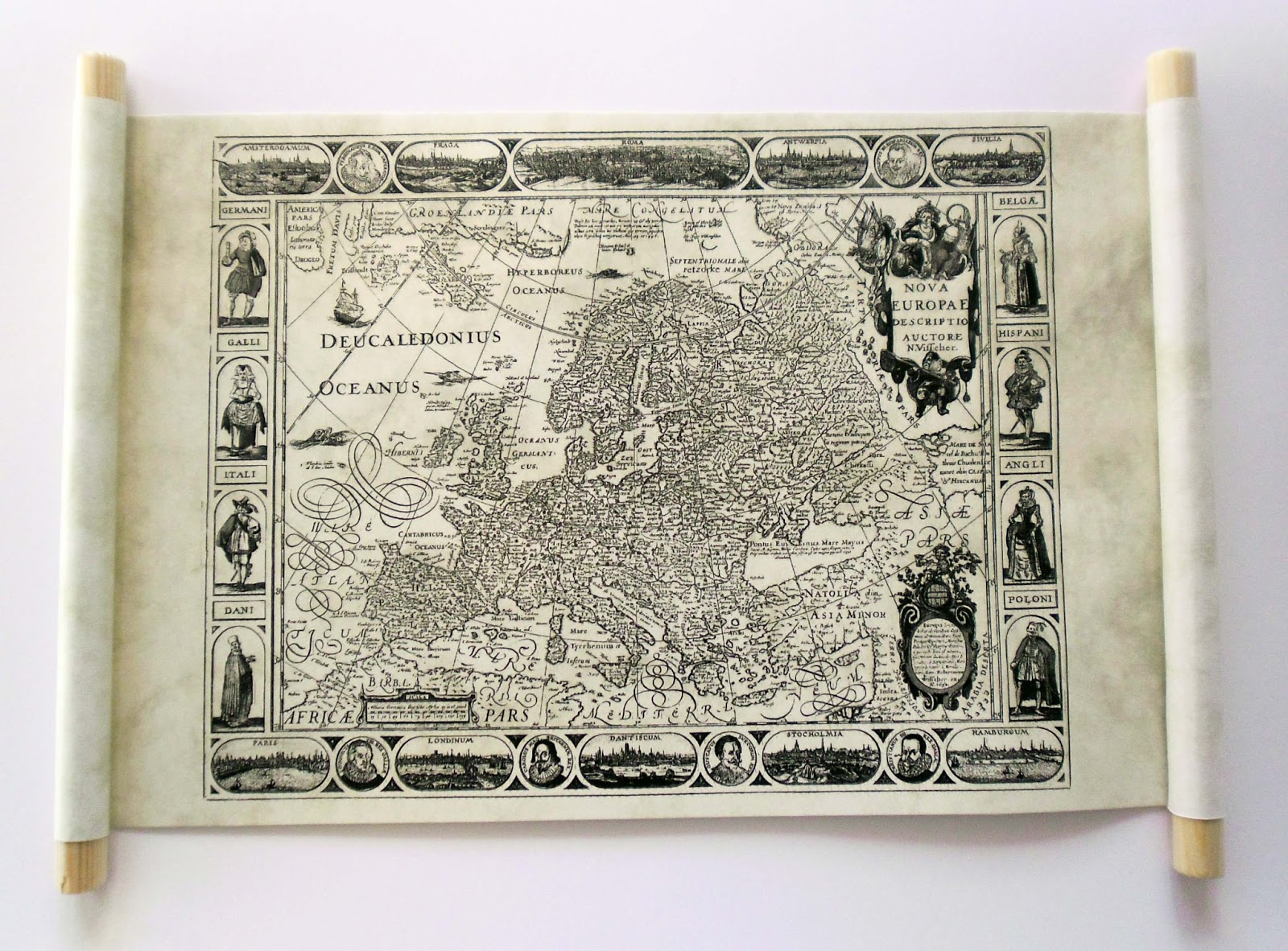 land of scrolls old map of europe on handmade scroll