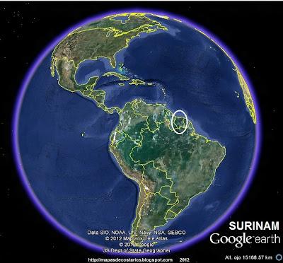 Ubicación de SURINAM en El Mundo (Google Earth)