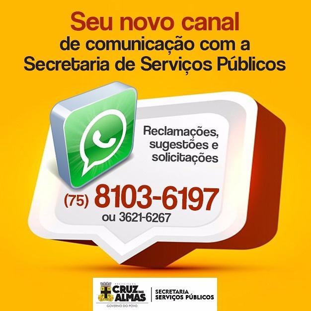 Novo canal de comunicação da secretaria de serviços publicos