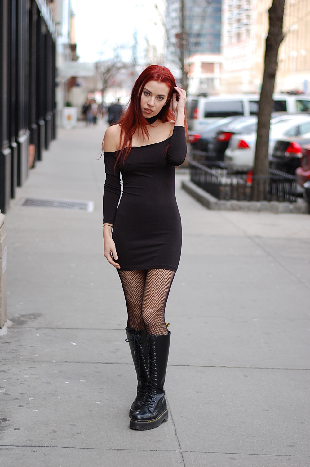 Black dress and boots images