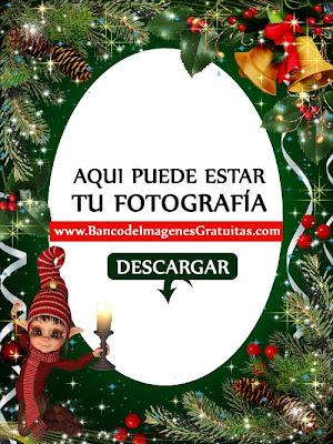 Duende y campanas (Portaretratos navideño PNG)
