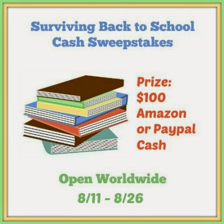 Enter the Surviving Back to School Cash Giveaway. Ends 8/26